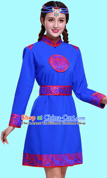 Chinese Traditional Mongolian Ethnic Female Costumes Mongol Nationality Royalblue Dress for Women