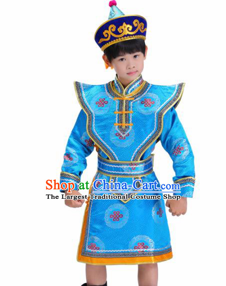 Chinese Traditional Ethnic Children Costumes Mongol Nationality Prince Blue Brocade Robe for Kids