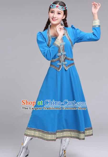 Chinese Traditional Mongolian Ethnic Blue Dress Mongol Nationality Costumes for Women