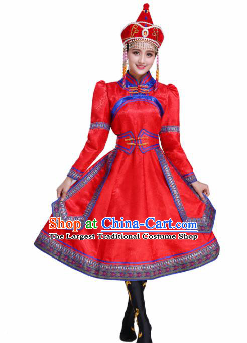 Chinese Traditional Mongolian Ethnic Folk Dance Red Dress Mongol Nationality Costumes for Women