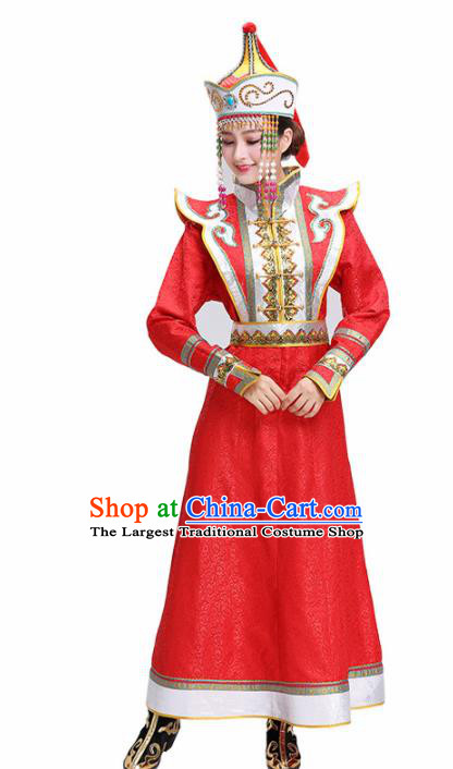 Chinese Traditional Mongolian Ethnic Bride Red Dress Mongol Nationality Folk Dance Costumes for Women