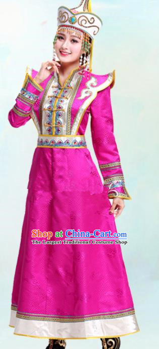 Chinese Traditional Mongolian Ethnic Bride Rosy Dress Mongol Nationality Folk Dance Costumes for Women