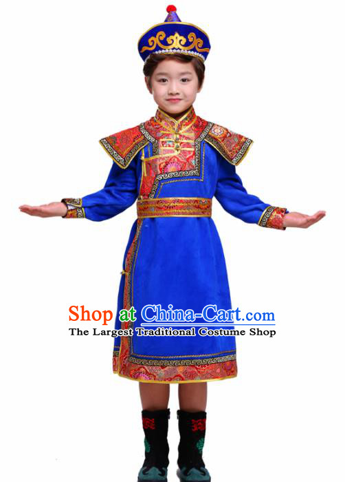 Chinese Traditional Mongol Ethnic Costume Nationality Royalblue Brocade Mongolian Robe for Kids