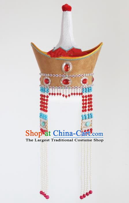 Chinese Traditional Mongolian Ethnic Hair Accessories Mongol Nationality Princess Hat for Women