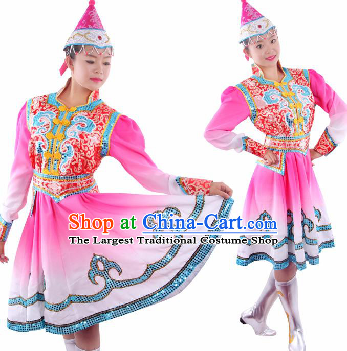 Chinese Traditional Mongolian Folk Dance Pink Short Dress Mongol Nationality Ethnic Costume for Women