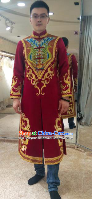 Chinese Traditional Wedding Costume Ancient Bridegroom Embroidered Red Tang Suit for Men