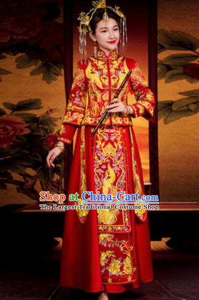 Traditional Chinese Red Wedding Dress Ancient Bride Embroidered Phoenix Xiu He Costume for Women