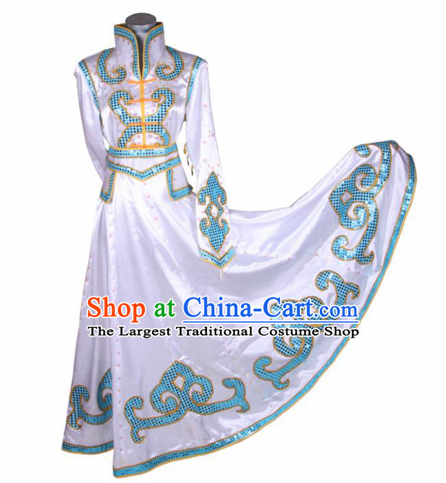 Chinese Traditional Mongolian Folk Dance White Dress Mongol Nationality Ethnic Costume for Women