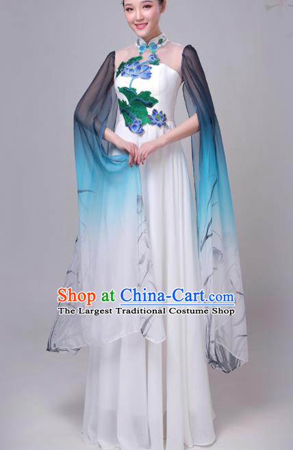 Chinese Traditional Lotus Dance Costume Classical Dance Group Dance Chorus Dress for Women