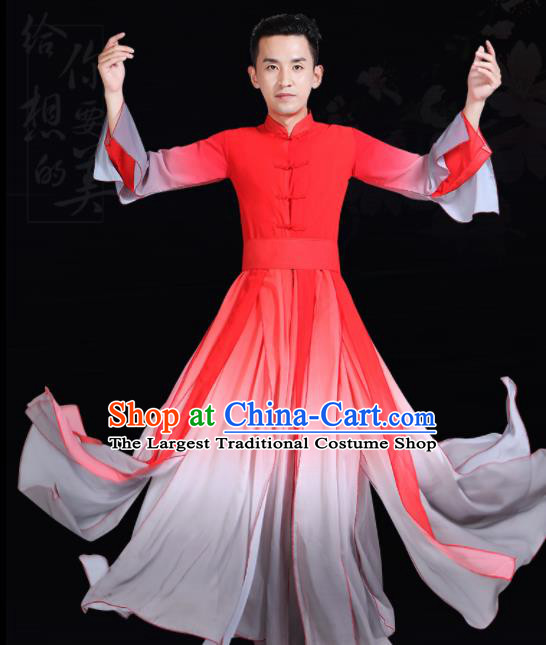 Chinese Traditional Stage Show Dance Red Costume Classical Dance Group Dance Clothing for Men