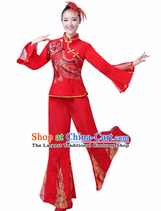 Chinese Traditional Stage Performance Fan Dance Red Costume Folk Dance Yangko Dance Dress for Women