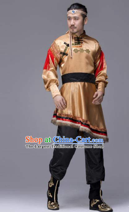 Chinese Traditional Tibetan Ethnic Folk Dance Golden Costume Zang Nationality Dance Clothing for Men