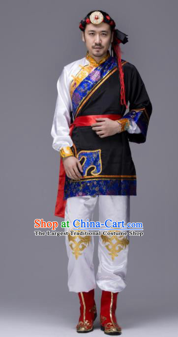Chinese Traditional Tibetan Ethnic Folk Dance Costume Zang Nationality Dance Black Clothing for Men