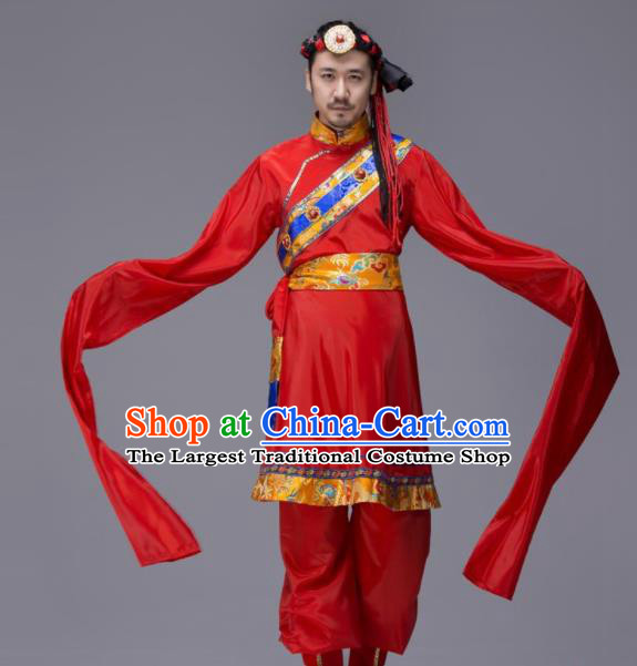 Chinese Traditional Tibetan Ethnic Folk Dance Costume Zang Nationality Dance Clothing for Men