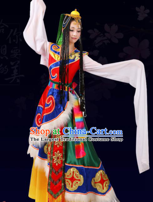 Chinese Traditional Tibetan Ethnic Folk Dance Costume Zang Nationality Dance Dress for Women