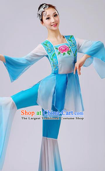 Chinese Traditional Fan Dance Blue Costume Folk Dance Stage Performance Yangko Dance Dress for Women