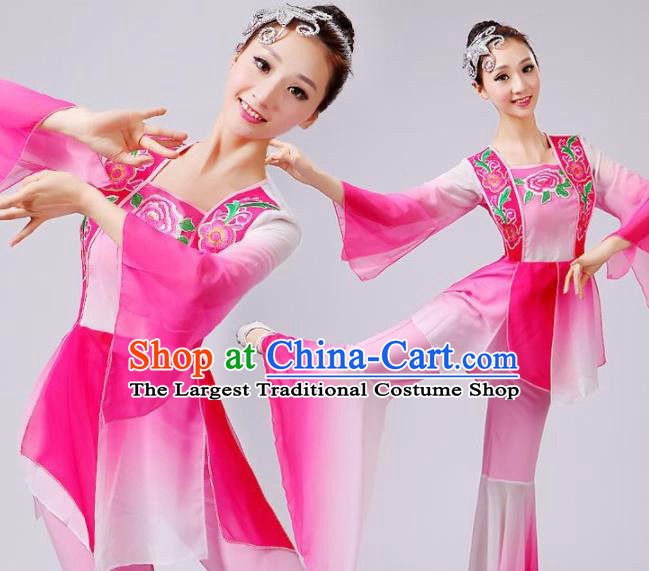 Chinese Traditional Fan Dance Pink Costume Folk Dance Stage Performance Yangko Dance Dress for Women