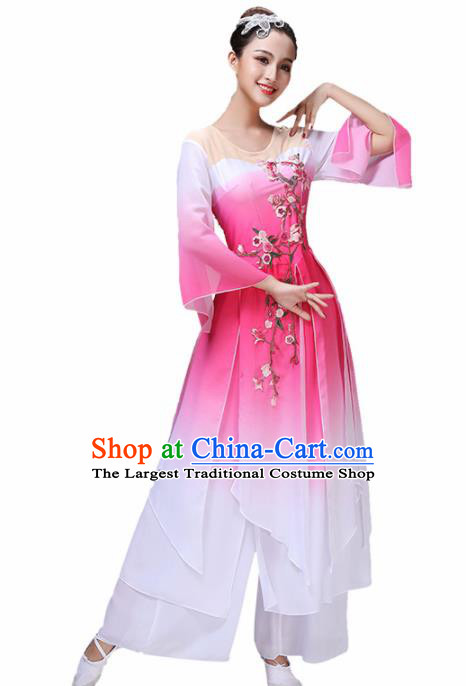 Chinese Traditional Stage Performance Fan Dance Pink Costume Classical Dance Group Dance Dress for Women