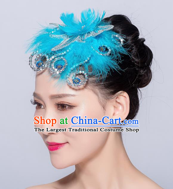 Chinese Traditional Folk Dance Blue Feather Hair Stick Stage Performance Yangko Dance Hair Accessories for Women