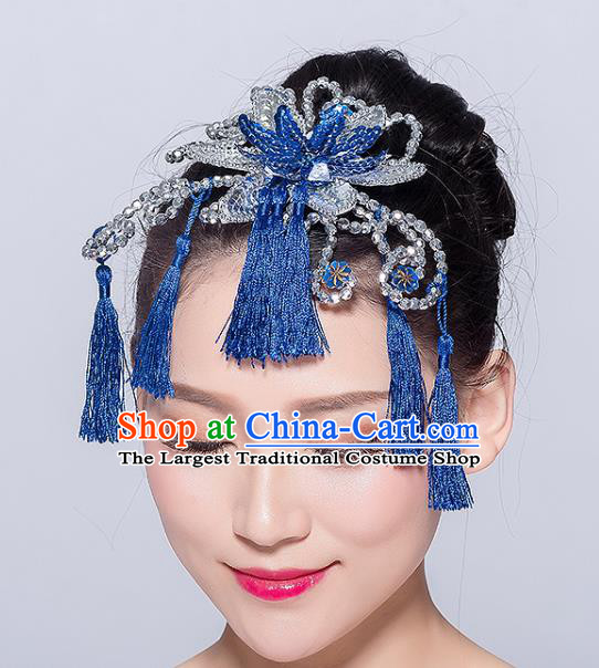Chinese Traditional Yangko Dance Royalblue Tassel Hair Stick National Folk Dance Hair Accessories for Women