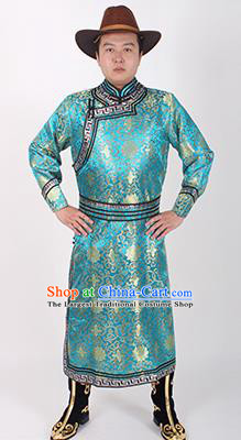 Chinese Traditional Mongol Ethnic Costume Nationality Blue Brocade Mongolian Robe for Men