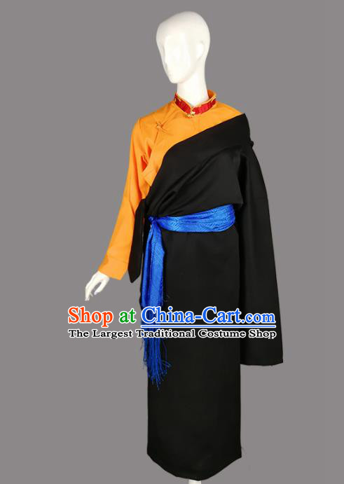 Chinese Traditional Tibetan Ethnic Black Robe Zang Nationality Heishui Dance Costume for Women