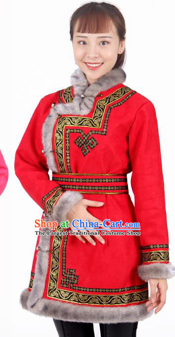 Chinese Traditional Mongolian Ethnic Red Suede Fabric Coat Mongol Nationality Folk Dance Costumes for Women