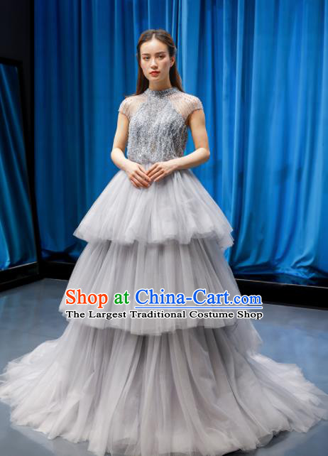 Top Grade Compere Grey Veil Full Dress Princess Embroidered Wedding Dress Costume for Women