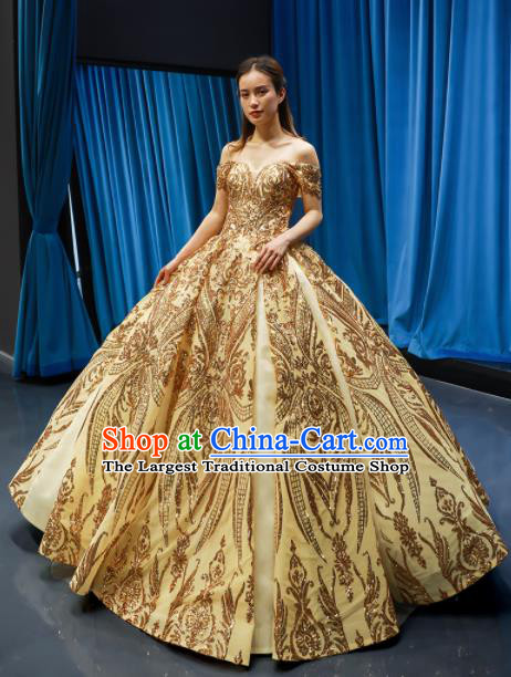Top Grade Compere Golden Full Dress Princess Embroidered Wedding Dress Costume for Women