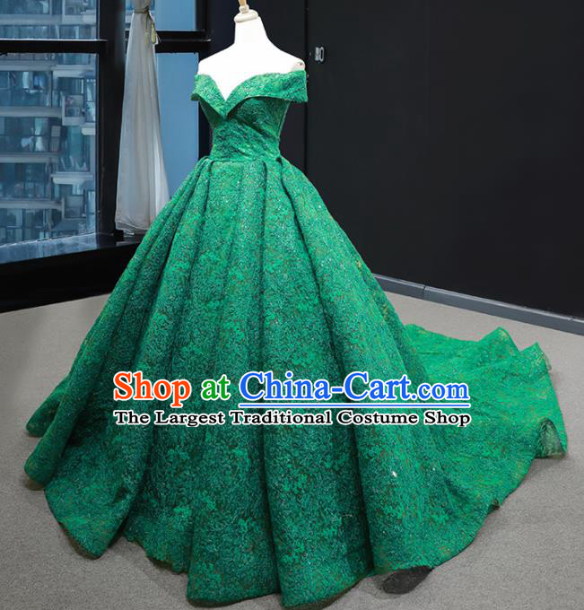 Top Grade Compere Green Lace Full Dress Princess Wedding Dress Costume for Women