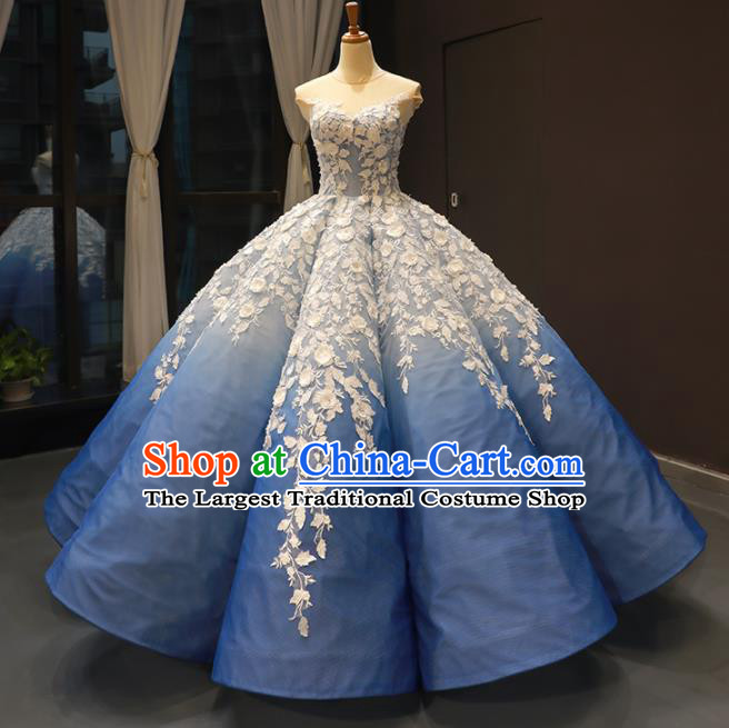 Top Grade Compere Blue Bubble Full Dress Princess Wedding Dress Costume for Women