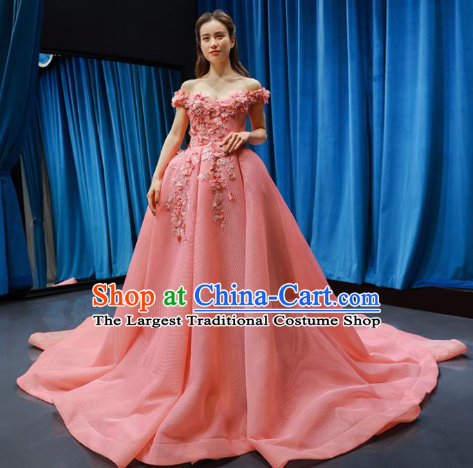 Top Grade Compere Full Dress Princess Pink Veil Trailing Wedding Dress Costume for Women