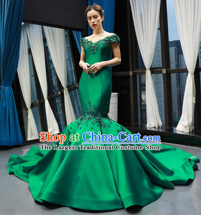 Top Grade Compere Green Satin Fishtail Trailing Full Dress Princess Wedding Dress Costume for Women