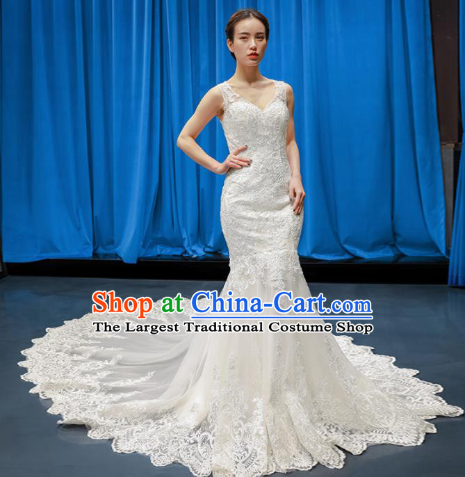 Top Grade Wedding Gown Bride Costume White Lace Trailing Full Dress Princess Dress for Women