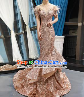 Top Grade Compere Champagne Full Dress Princess Trailing Wedding Dress Costume for Women
