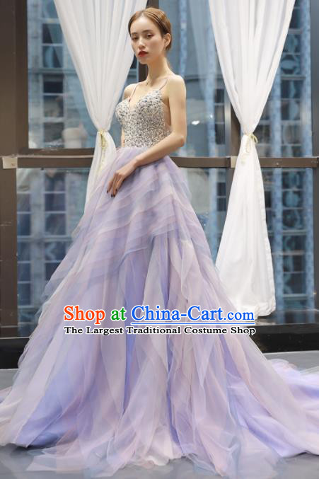 Top Grade Compere Purple Veil Full Dress Princess Trailing Wedding Dress Costume for Women