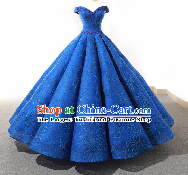 Top Grade Compere Blue Bubble Full Dress Princess Embroidered Wedding Dress Costume for Women