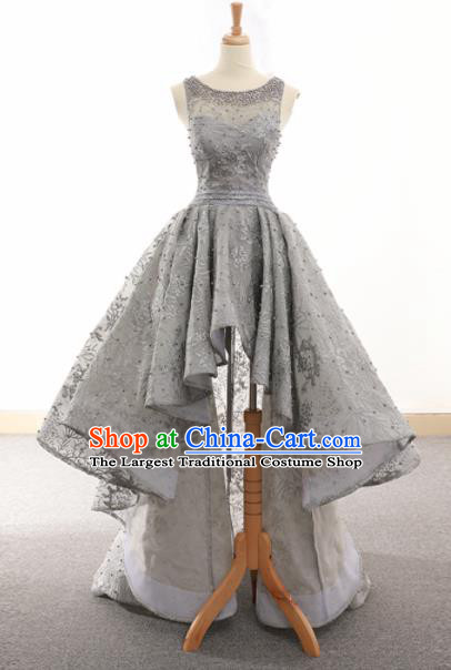 Top Grade Compere Grey Veil Trailing Full Dress Princess Embroidered Wedding Dress Costume for Women