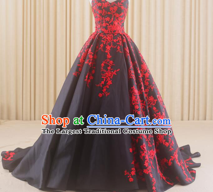 Top Grade Compere Black Trailing Full Dress Princess Embroidered Wedding Dress Costume for Women