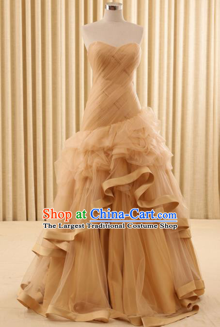 Top Grade Compere Champagne Veil Full Dress Princess Embroidered Wedding Dress Costume for Women