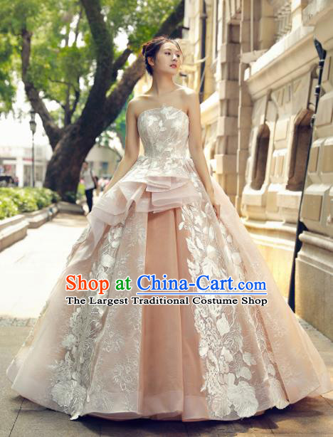 Top Grade Compere Champagne Veil Trailing Full Dress Princess Embroidered Wedding Dress Costume for Women