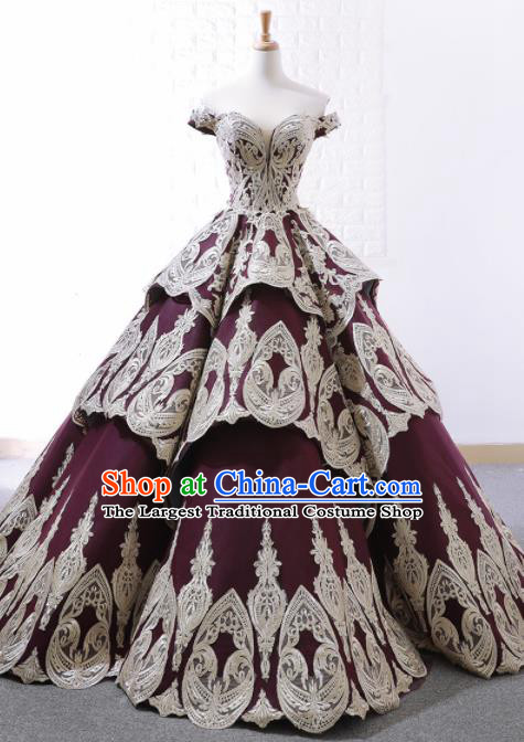 Top Grade Compere Purple Bubble Full Dress Princess Embroidered Wedding Dress Costume for Women