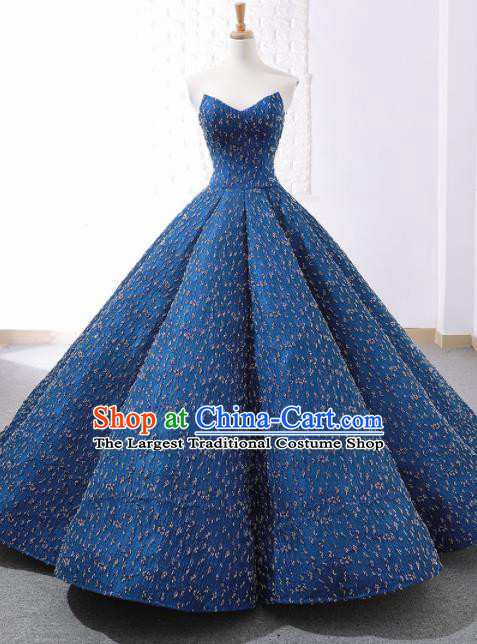 Top Grade Compere Embroidered Blue Strapless Full Dress Princess Wedding Dress Costume for Women