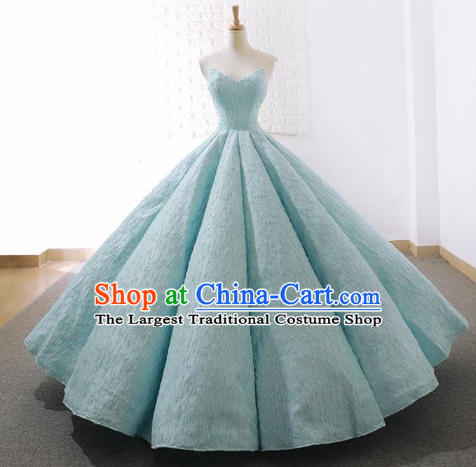 Top Grade Compere Embroidered Light Blue Strapless Full Dress Princess Wedding Dress Costume for Women