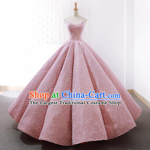 Top Grade Compere Embroidered Pink Strapless Full Dress Princess Wedding Dress Costume for Women