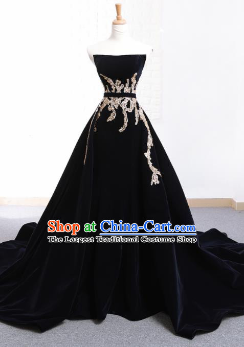 Top Grade Compere Embroidered Navy Trailing Full Dress Princess Wedding Dress Costume for Women