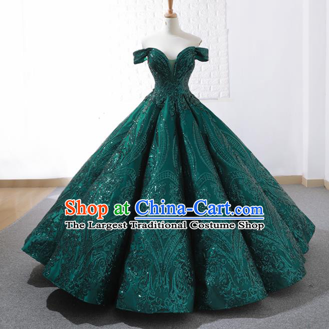 Top Grade Compere Green Paillette Full Dress Princess Embroidered Bubble Wedding Dress Costume for Women