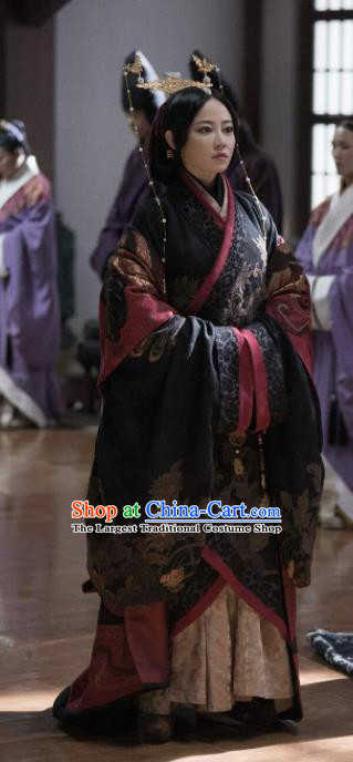Chinese Warring States Period Historical Costume The Lengend of Haolan Ancient Empress Dowager Hanfu Dress and Headpiece for Women
