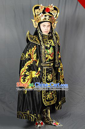 Chinese Traditional Sichuan Opera Embroidered Black Costume Face Changing Clothing Complete Set for Men