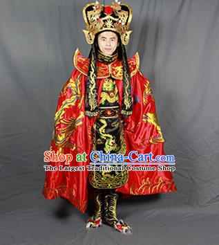 Chinese Traditional Sichuan Opera Embroidered Costume Face Changing Red Cloak and Clothing Complete Set for Men